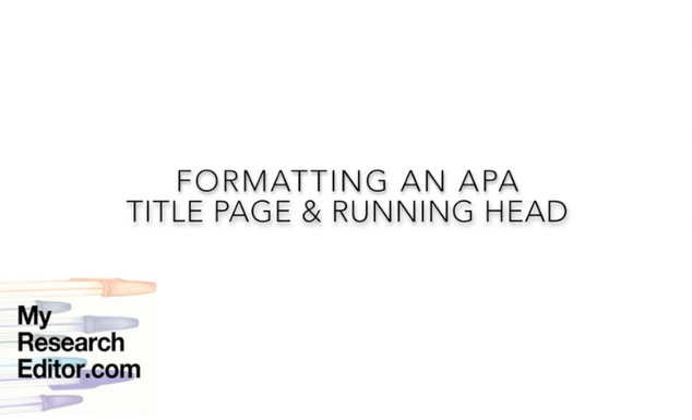 Video how to format the APA title page and running head